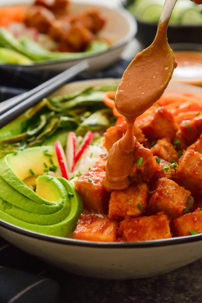 62 Vegan Tofu Recipes - Hoisin Peanut Tofu Bowls   Hurry The Food Up