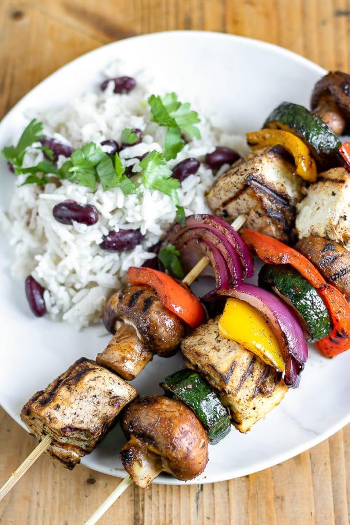 62 Vegan Tofu Recipes - Jerk Tofu Skewers with Vegetables   Hurry The Food Up
