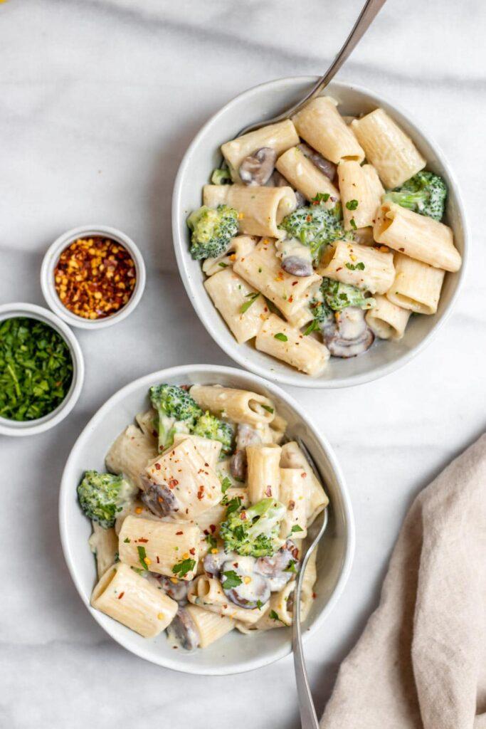 40 Vegan Broccoli Recipes – Plant-based plants - Mushroom Broccoli Rigatoni With Lemon Garlic Cream Sauce | Hurry The Food Up