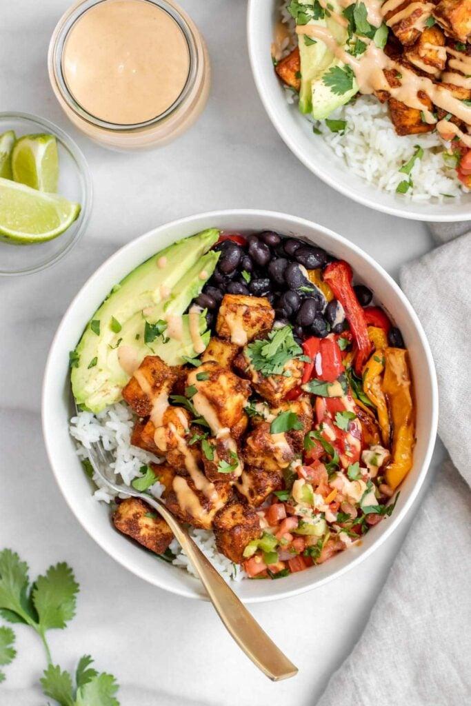 62 Vegan Tofu Recipes - Spicy Baked Tofu Burrito Bowl   Hurry The Food Up