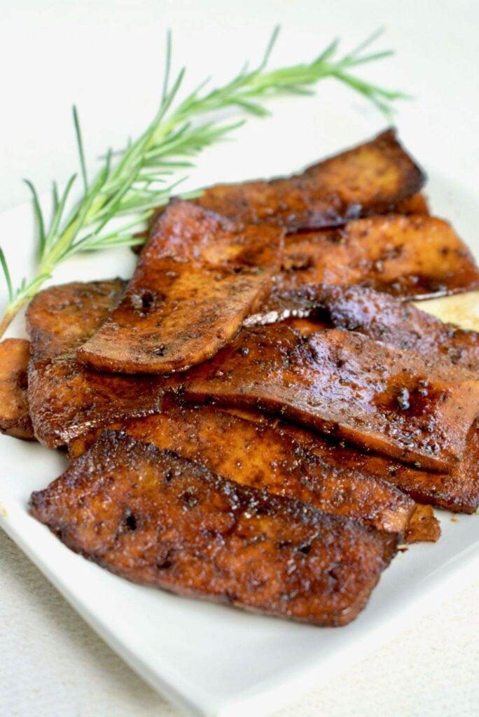 62 Vegan Tofu Recipes - Vegan Tofu Bacon   Hurry The Food Up