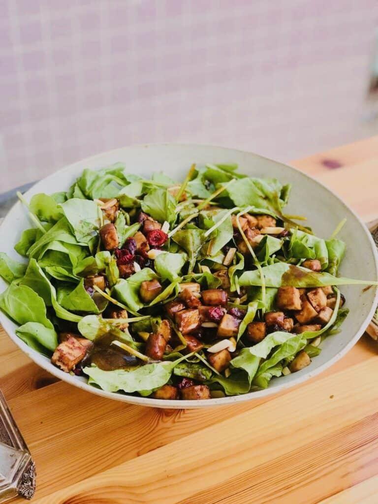 62 Vegan Tofu Recipes - Festive Vegan Spinach Salad   Hurry The Food Up