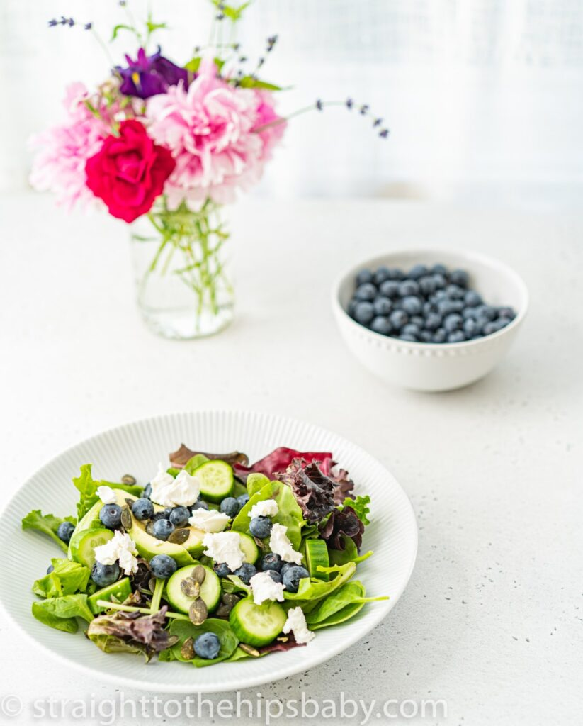 100 Gluten-free Vegetarian Recipes – Blueberry & Goat Cheese Salad with Creamy Basil Dressing   Hurry The Food Up