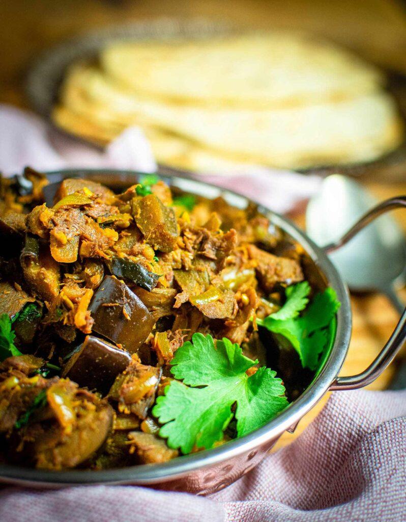 40 Vegan Eggplant Recipes - Aubergine Bhaji | Hurry The Food Up