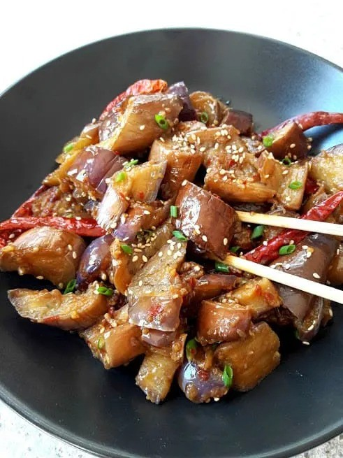 40 Vegan Eggplant Recipes - Chinese Spicy Eggplant | Hurry The Food Up