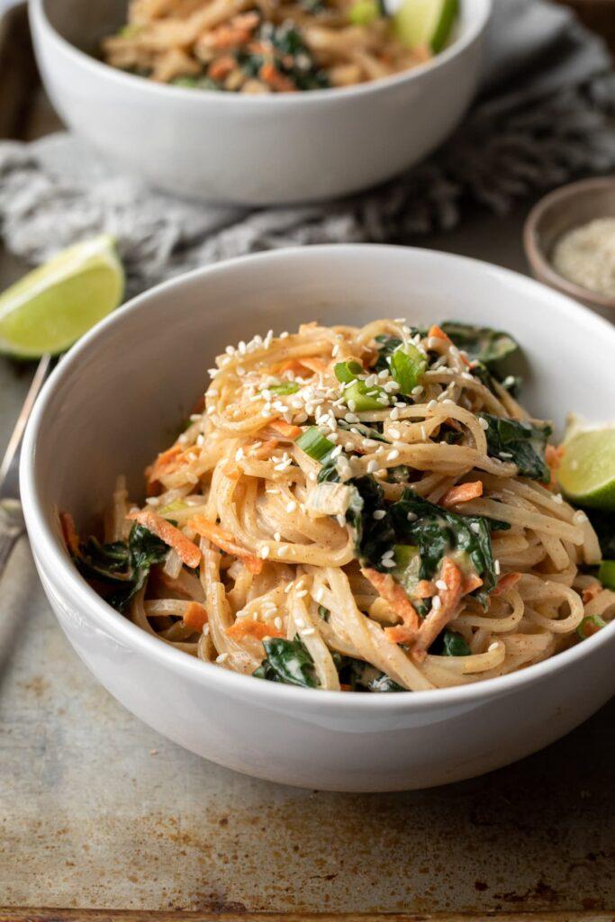 100 Gluten-Free Vegan Recipes - Ginger-Sesame Vegan Noodles   Hurry The Food Up