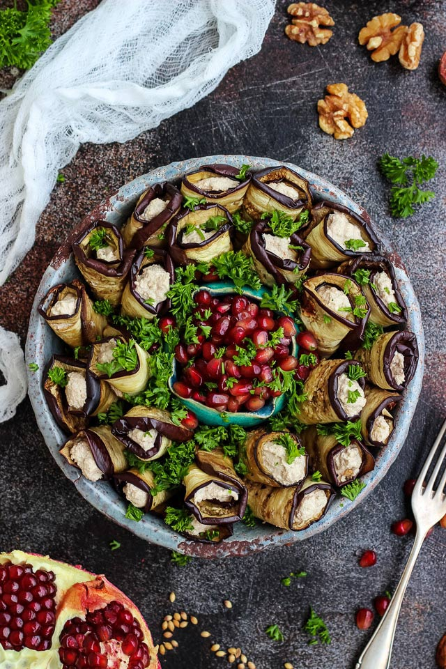 40 Vegan Eggplant Recipes - Georgian Eggplant Rolls with Walnuts | Hurry The Food Up