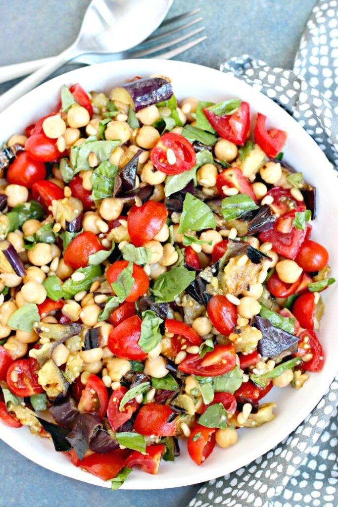 40 Vegan Eggplant Recipes - Grilled Eggplant Salad with Chickpeas and Tomatoes | Hurry The Food Up