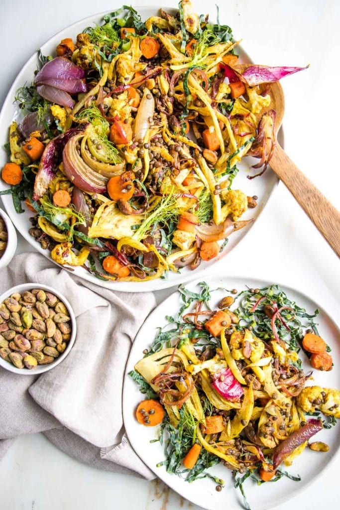 100 Gluten-Free Vegan Recipes - Lentil Salad with Roasted Vegetables | Hurry The Food Up