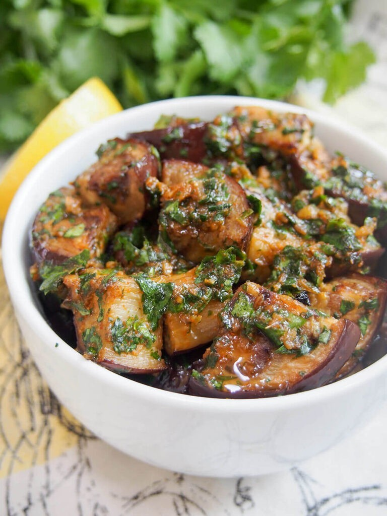 40 Vegan Eggplant Recipes - Moroccan Eggplant with Chermoula | Hurry The Food Up
