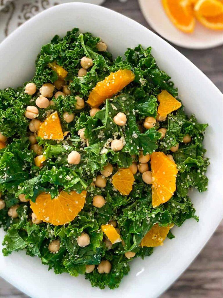 100 Gluten-Free Vegan Recipes - Orange Kale Salad with Citrus Vinaigrette   Hurry The Food Up