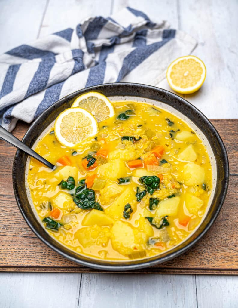 100 Gluten-Free Vegan Recipes - Red Lentil Potato Soup with Lemon | Hurry The Food Up