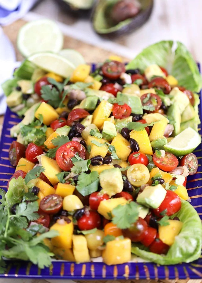 100 Gluten-Free Vegan Recipes - Chili Spiced Mango Guacamole Salad | Hurry The Food Up