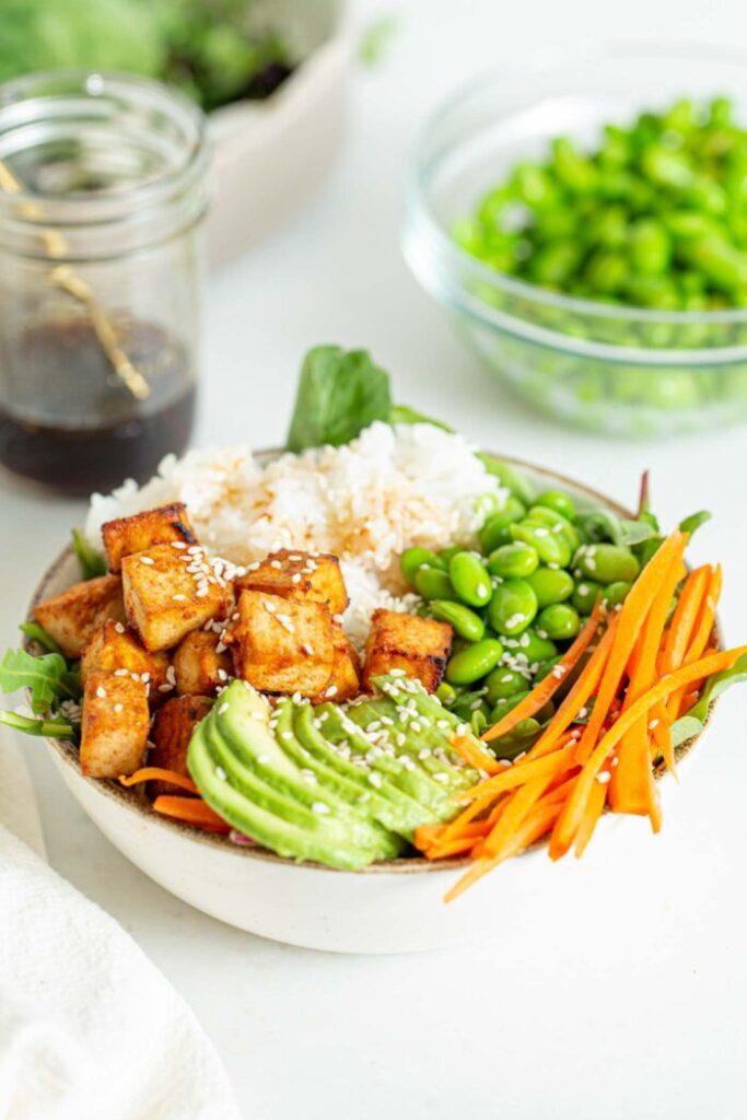 100 Gluten-Free Vegan Recipes - Sriracha Baked Tofu Rice Bowls   Hurry The Food Up