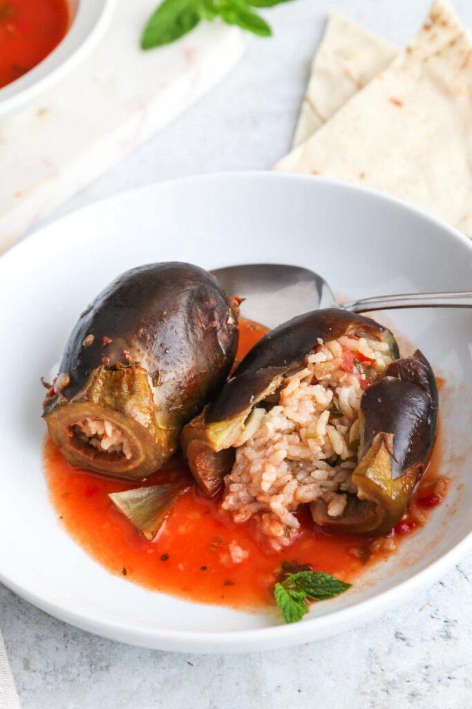 40 Vegan Eggplant Recipes - Middle Eastern Stuffed Aubergines | Hurry The Food Up