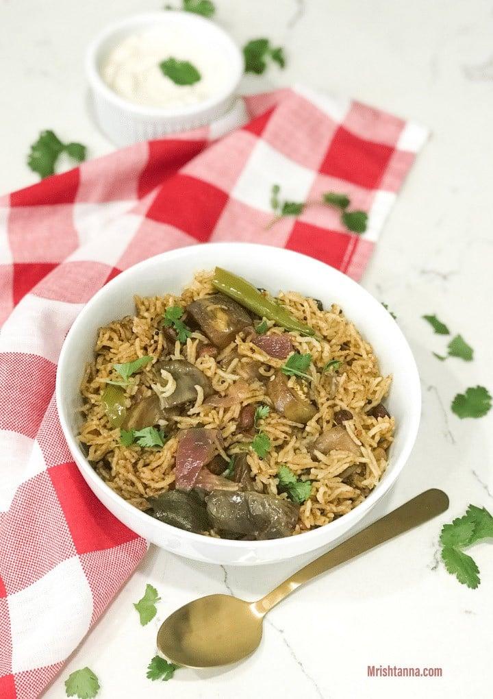 40 Vegan Eggplant Recipes - Vangi Bath - Brinjal Rice | Hurry The Food Up
