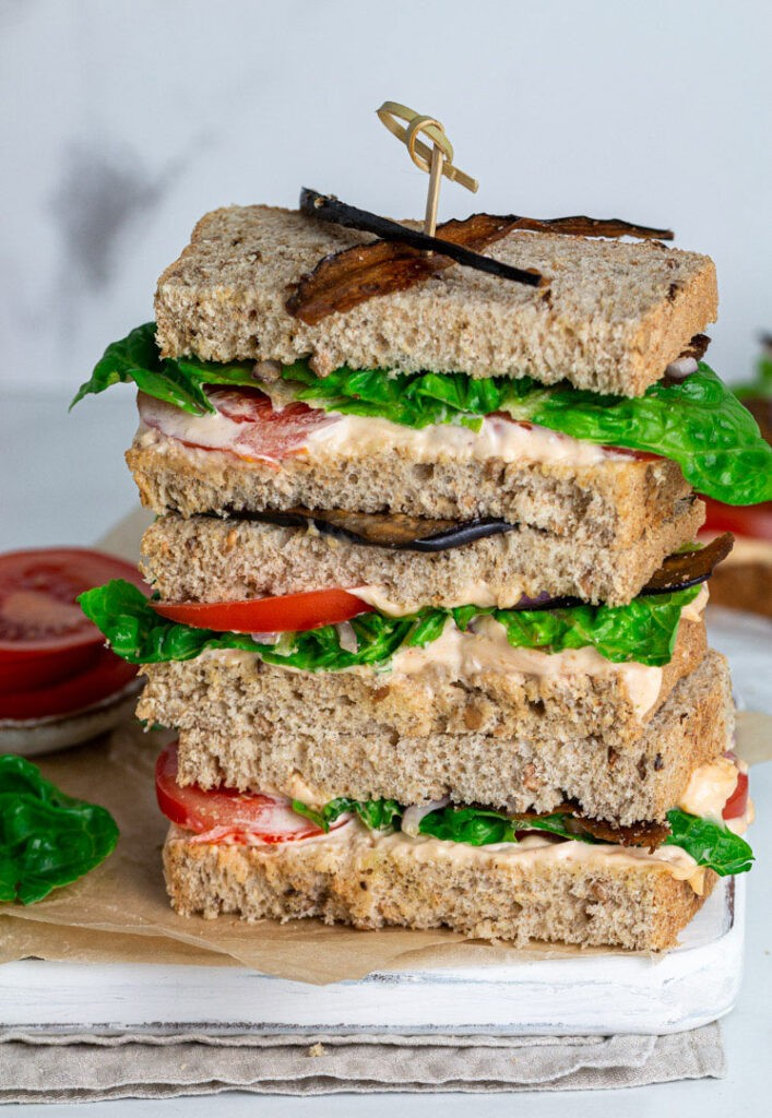 40 Vegan Eggplant Recipes - The Best Ever Vegan BLT Sandwich with Eggplant Bacon | Hurry The Food Up