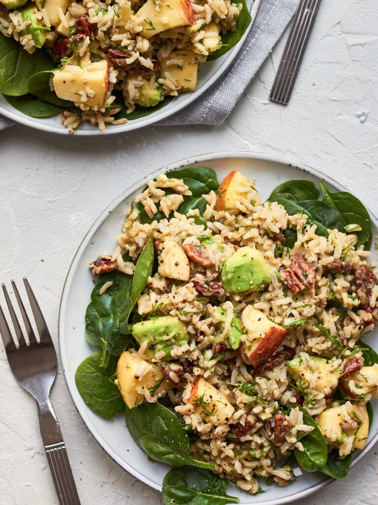 100 Gluten-Free Vegan Recipes - Vegan Rice Salad with Pecans and Apple | Hurry The Food Up