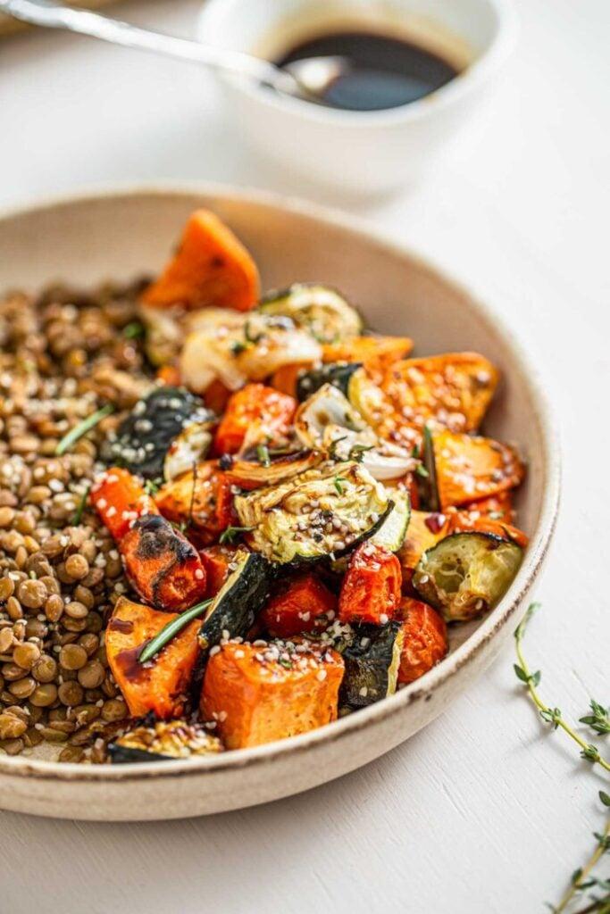 100 Gluten-Free Vegan Recipes - Roasted Vegetable Lentil Salad   Hurry The Food Up
