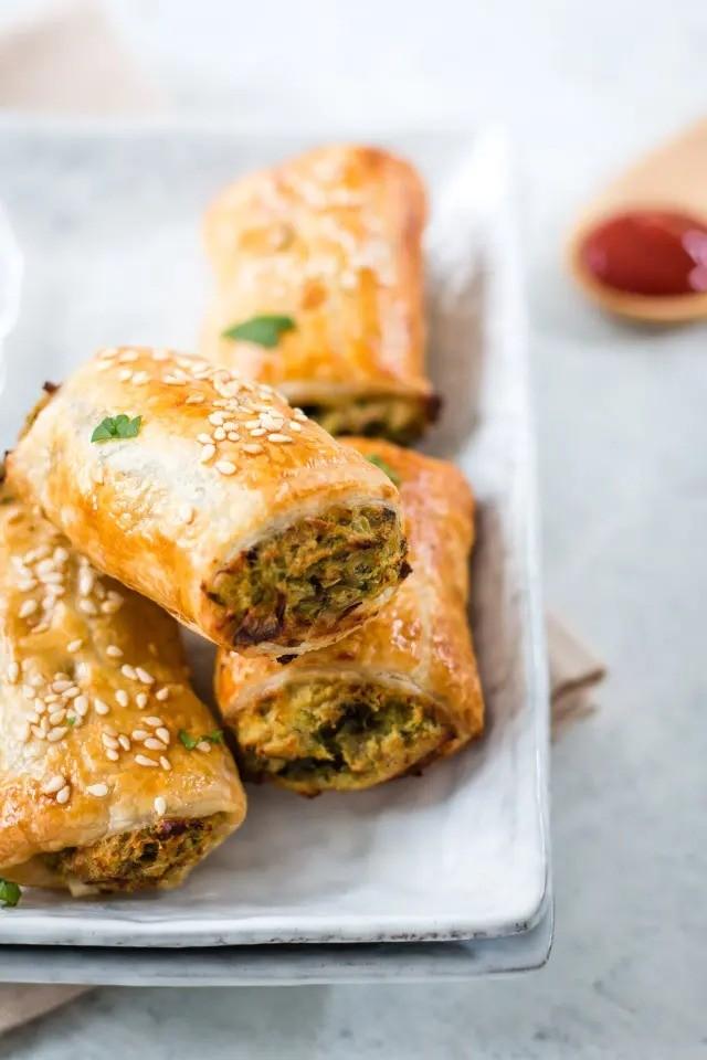 40 Vegan Eggplant Recipes - Eggplant and Bean Vegan Sausage Rolls | Hurry The Food Up