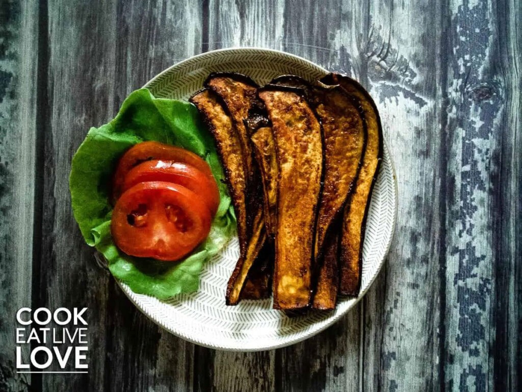 40 Vegan Eggplant Recipes - Smoky Sweet Vegan Eggplant Bacon Slices | Hurry The Food Up