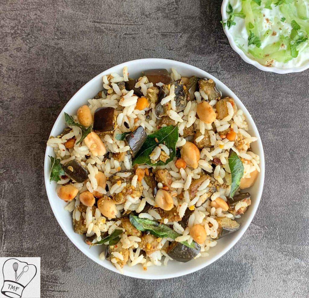 40 Vegan Eggplant Recipes - Brinjal Rice - Vangi Bath | Hurry The Food Up