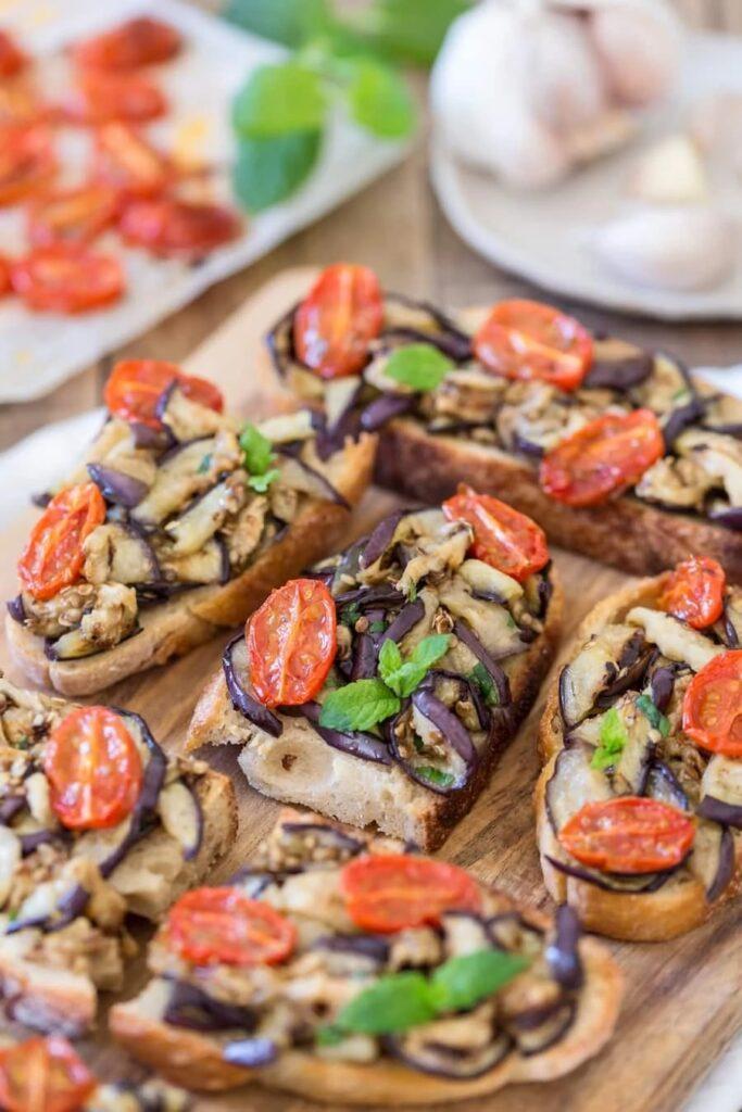 40 Vegan Eggplant Recipes - Grilled Eggplant Bruschetta | Hurry The Food Up