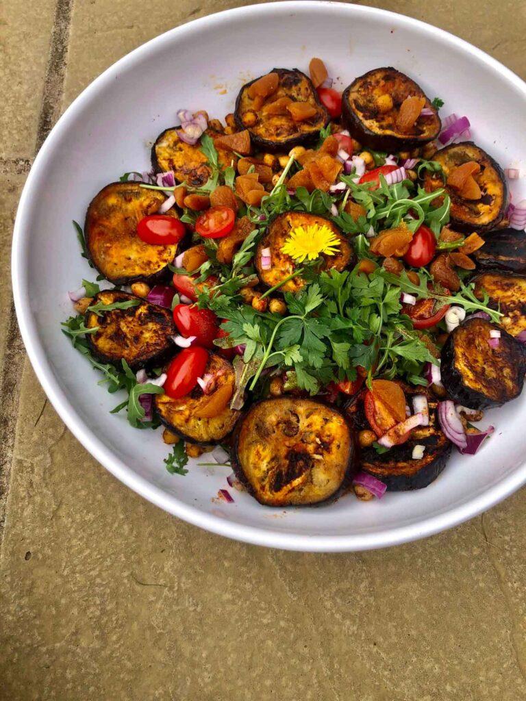 40 Vegan Eggplant Recipes - BBQ Moroccan Eggplant Salad | Hurry The Food Up