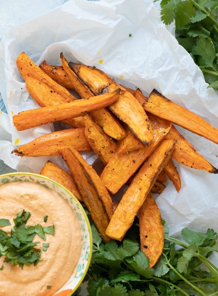 100 Gluten-free Vegetarian Recipes – Easy Baked Sweet Potato Wedges with Chipotle Cashew Dip   Hurry The Food Up
