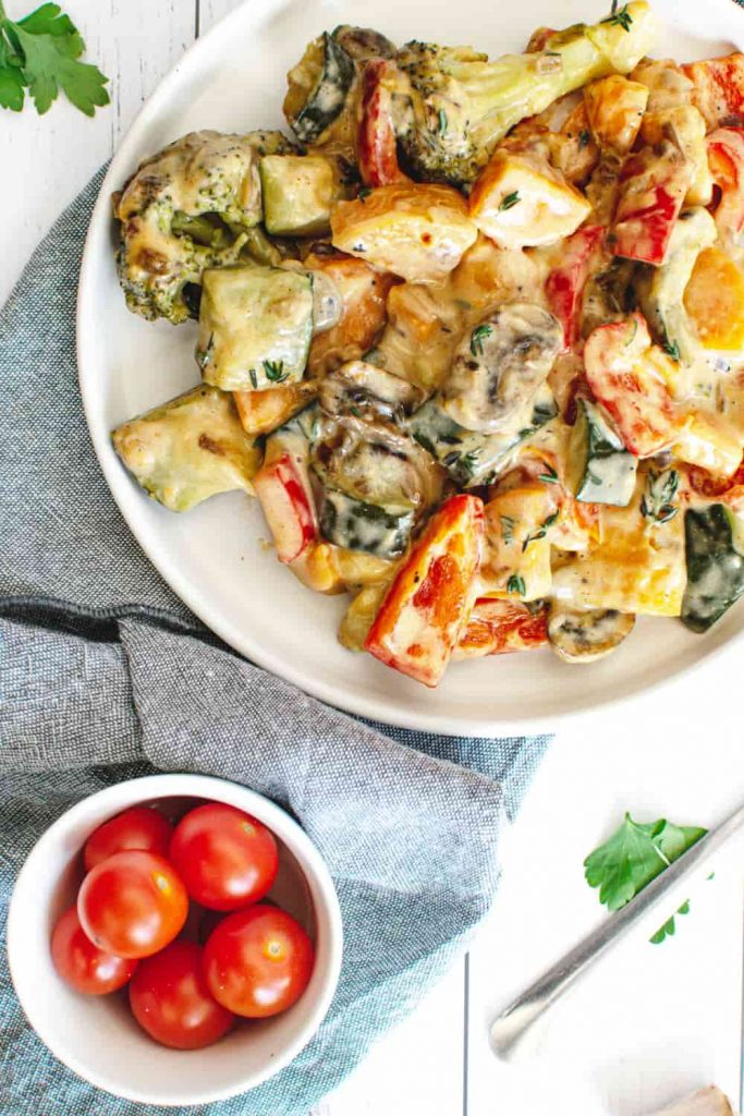 100 Gluten-Free Vegan Recipes - Vegan Roasted Vegetable Cheese Bake | Hurry The Food Up