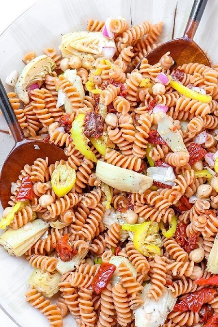 100 Gluten-Free Vegan Recipes - Red Lentil Pasta Salad | Hurry The Food Up