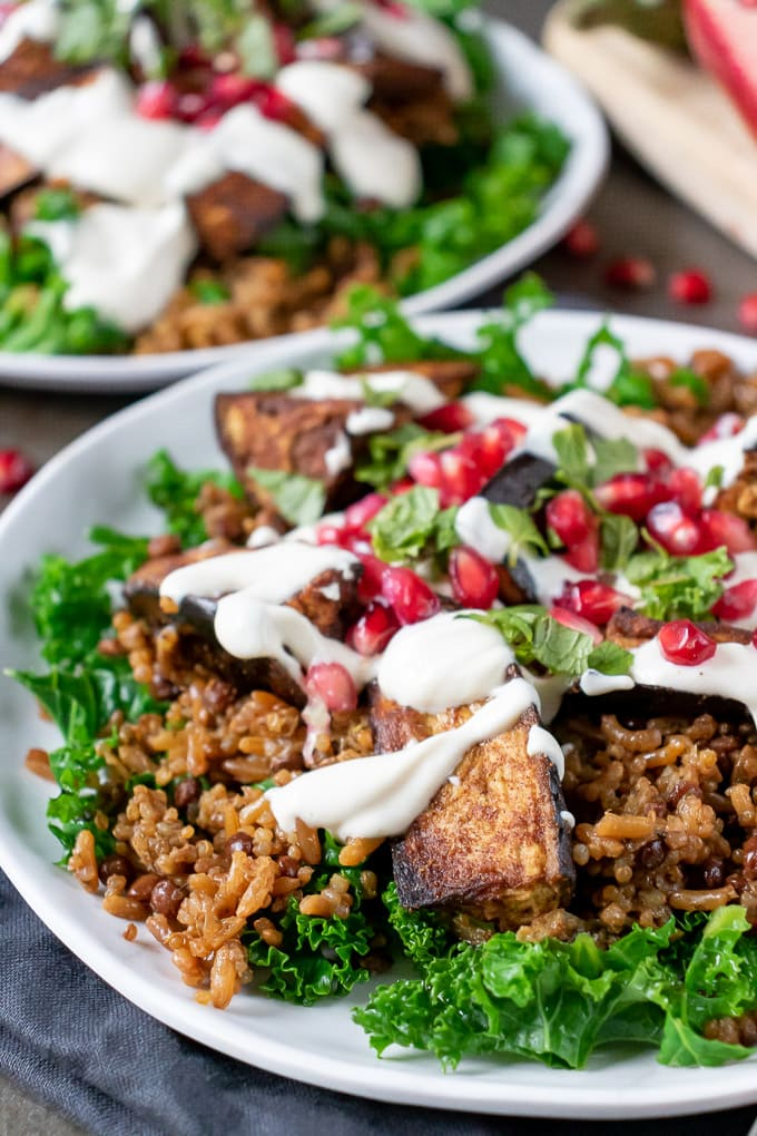 40 Vegan Eggplant Recipes - Persian Roasted Eggplant Salad with Tahini Dressing | Hurry The Food Up