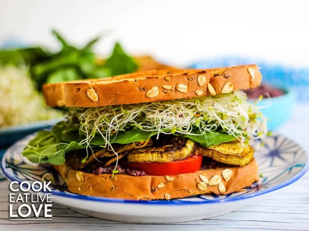40 Vegan Eggplant Recipes - Roasted Eggplant Sandwich with Easy Olive Spread | Hurry The Food Up