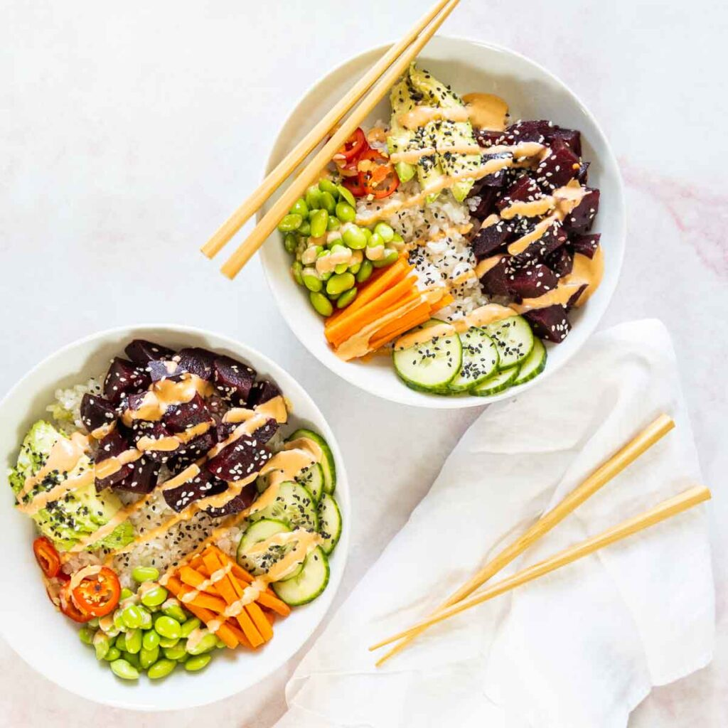 100 Gluten-free Vegetarian Recipes – Vegan Beet Poke Bowl | Hurry The Food Up