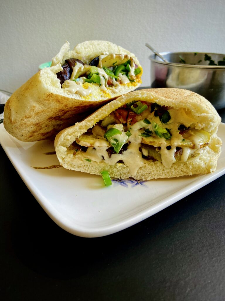 40 Vegan Eggplant Recipes - Vegan Sabich - Middle Eastern Vegan Eggplant Sandwich | Hurry The Food Up