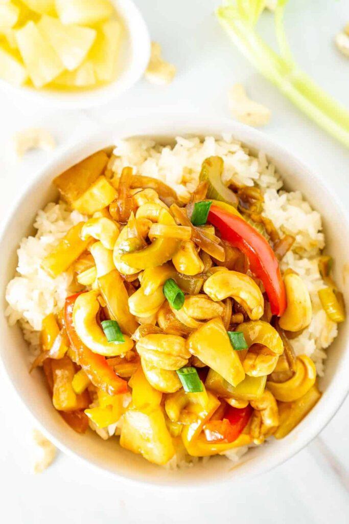 20 Vegan Stir Fry Recipes - Vegan Cashew Pineapple Stir Fry with Celery | Hurry The Food Up