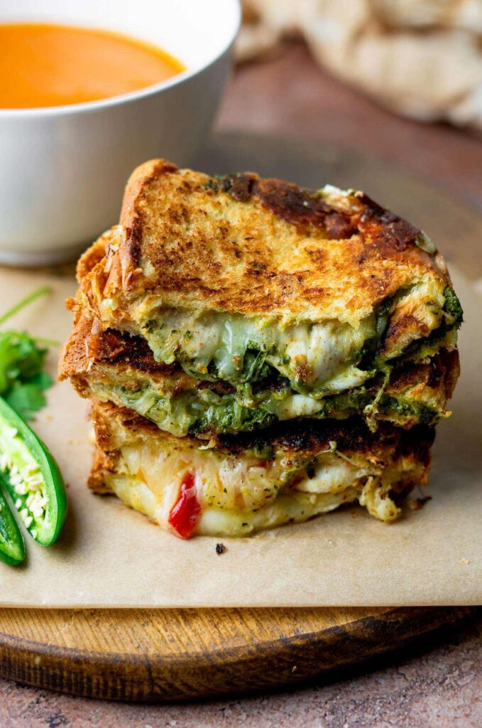 30 Best Veggie (Vegetarian) Sandwich Recipes - Chutney Grilled Cheese Sandwich | Hurry The Food Up