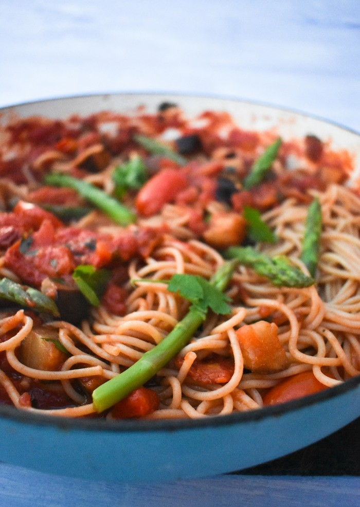 40 Delightful Vegetarian Eggplant Recipes (Vegetarian Aubergine Recipes) - Grilled Aubergine, Asparagus & Chilli Spaghetti | Hurry The Food Up