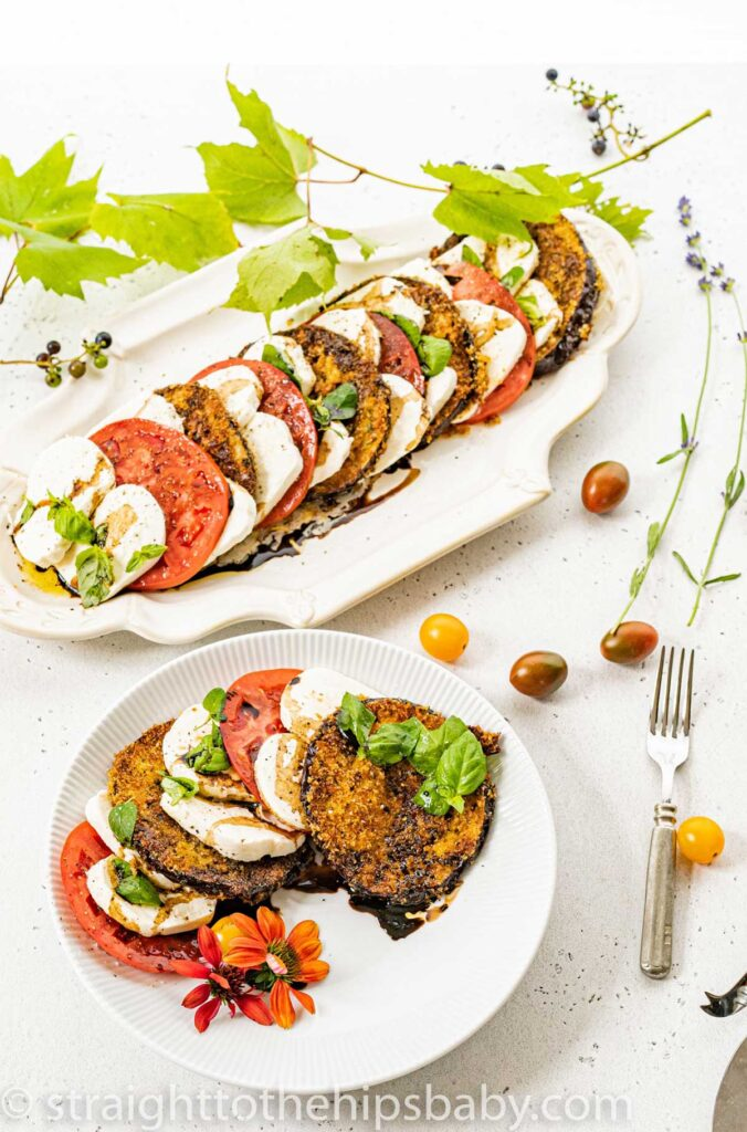 40 Delightful Vegetarian Eggplant Recipes (Vegetarian Aubergine Recipes) - Fresh Caprese Salad with Crispy Eggplant | Hurry The Food Up