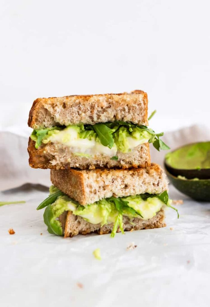 30 Best Veggie (Vegetarian) Sandwich Recipes - Havarti Grilled Cheese with Mashed Avocado and Arugula (rocket) | Hurry The Food Up
