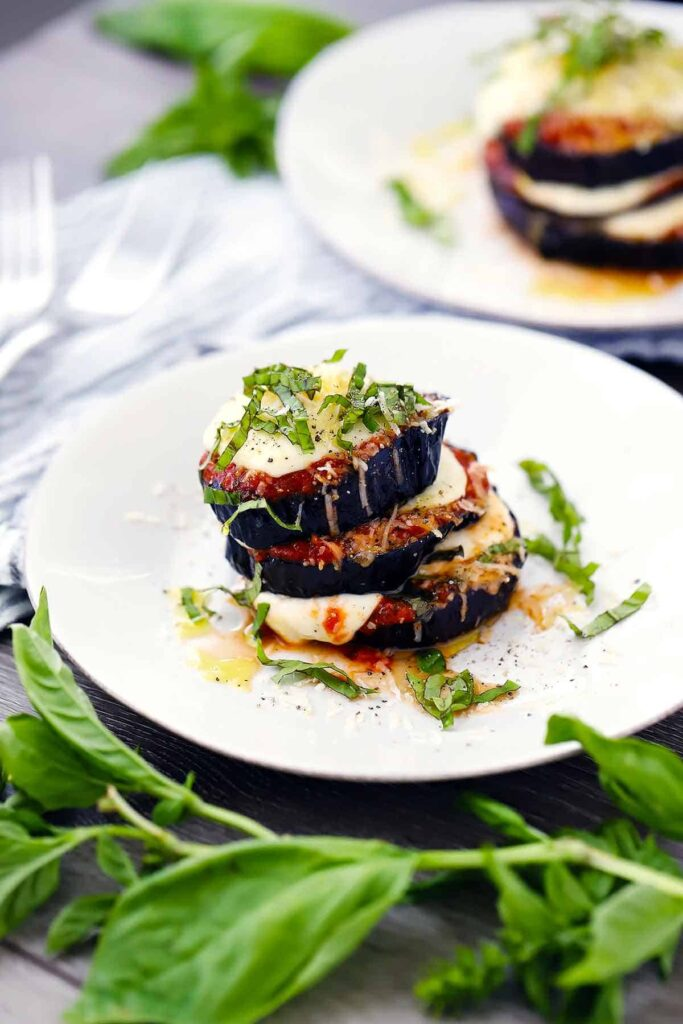 40 Delightful Vegetarian Eggplant Recipes (Vegetarian Aubergine Recipes) - Roasted Eggplant Parmesan Stacks | Hurry The Food Up