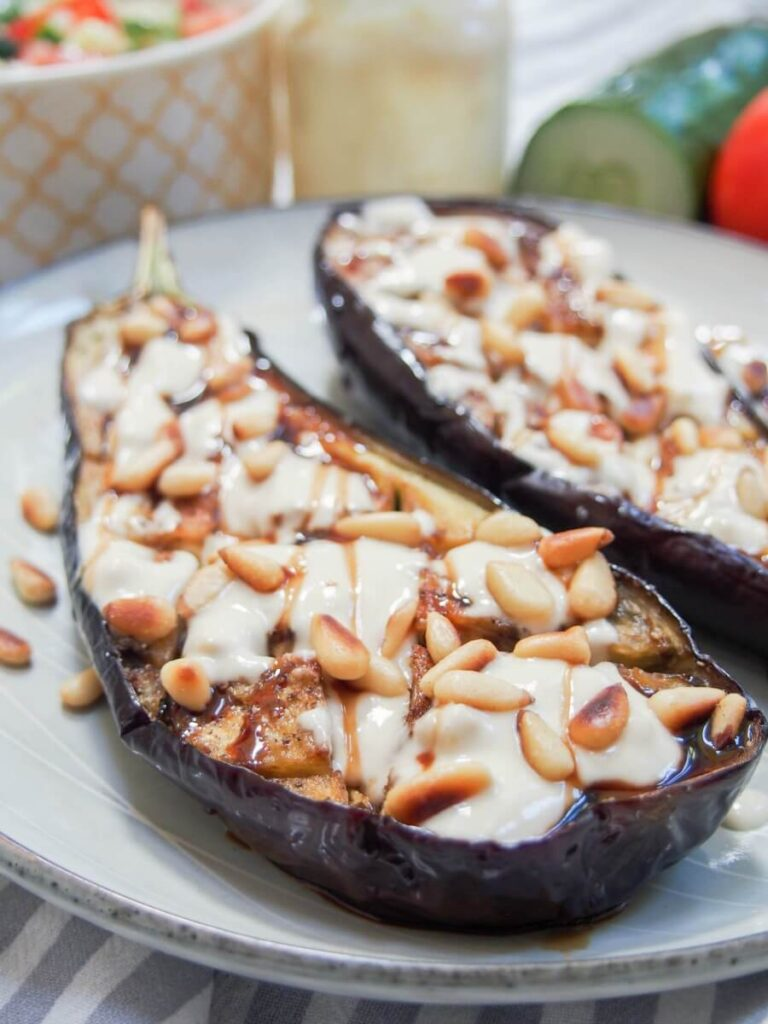 40 Delightful Vegetarian Eggplant Recipes (Vegetarian Aubergine Recipes) - Roasted Eggplant withTahini | Hurry The Food Up
