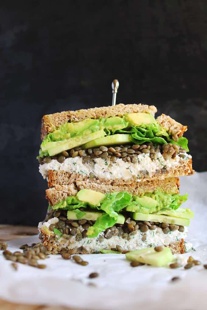 30 Best Veggie (Vegetarian) Sandwich Recipes - Lentil and Herby Ricotta Sandwich | Hurry The Food Up