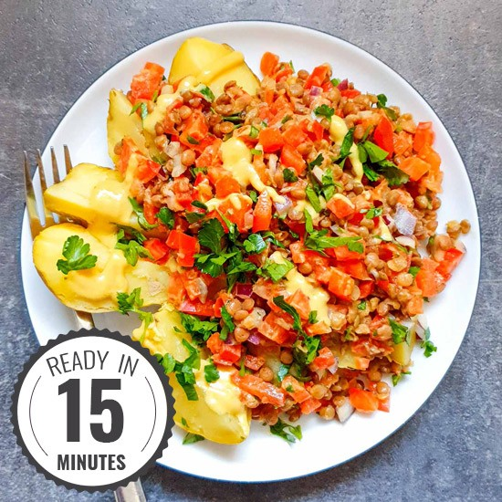 Turkish Lentil Salad with Potatoes | Hurry The Food Up