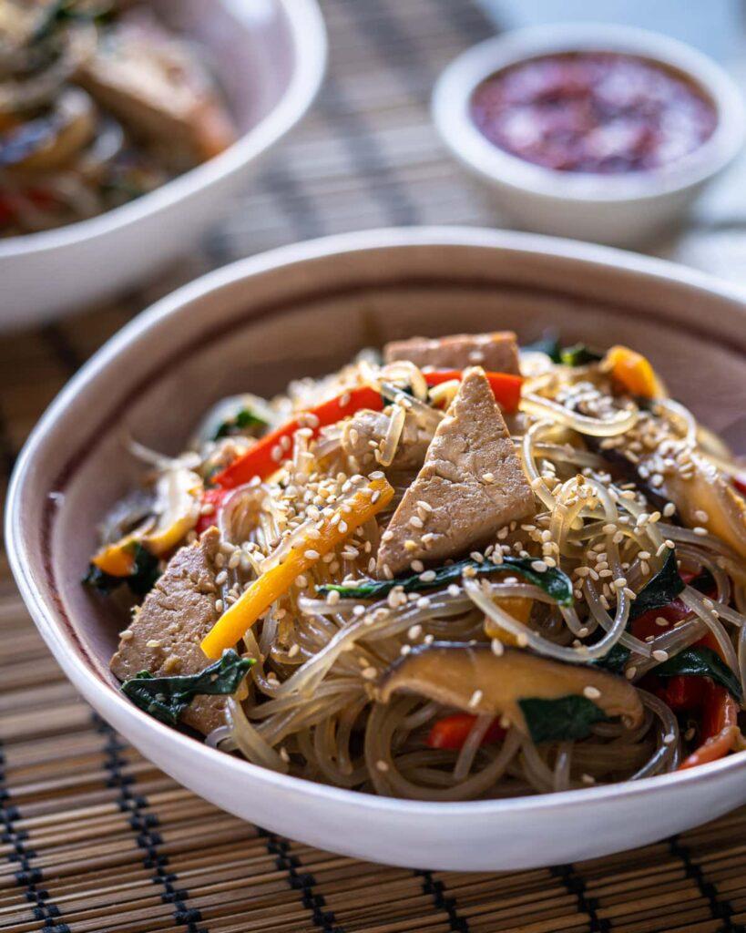 20 Best Vegetarian Stir Fry Recipes - Vegan Japchae (Korean Glass Noodles) | Hurry The Food Up