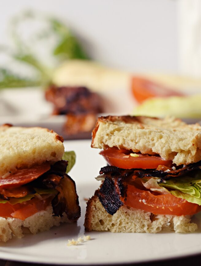 30 Best Veggie (Vegetarian) Sandwich Recipes - Vegetarian BLT with Daikon Root Bacon | Hurry The Food Up