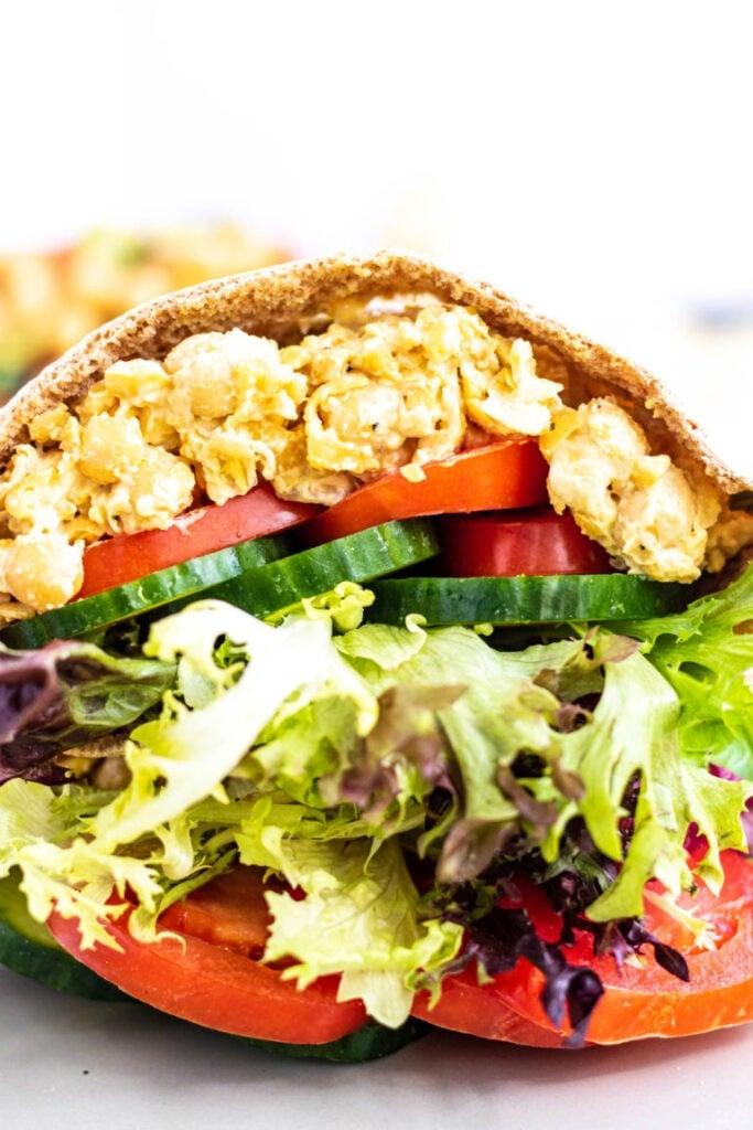 30 Best Veggie (Vegetarian) Sandwich Recipes - Chickpea Salad Sandwich | Hurry The Food Up