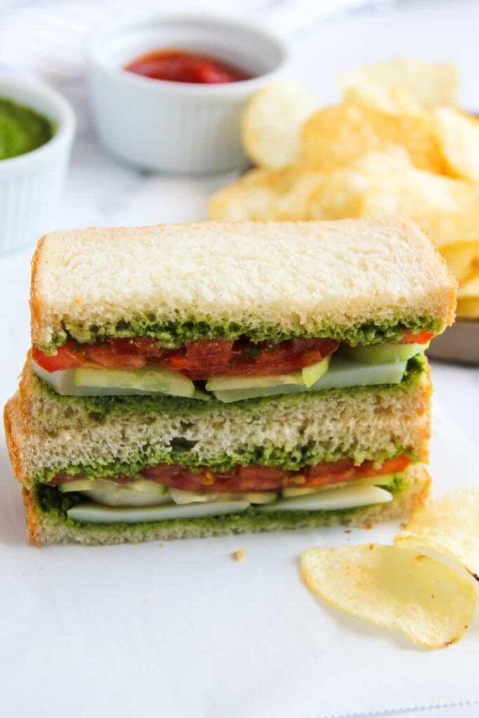 30 Best Veggie (Vegetarian) Sandwich Recipes - Bombay Sandwich | Hurry The Food Up