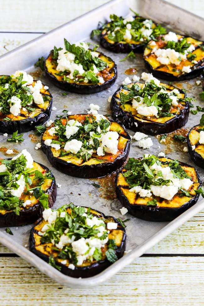 40 Delightful Vegetarian Eggplant Recipes (Vegetarian Aubergine Recipes) - Grilled Eggplant With Feta And Herbs | Hurry The Food Up