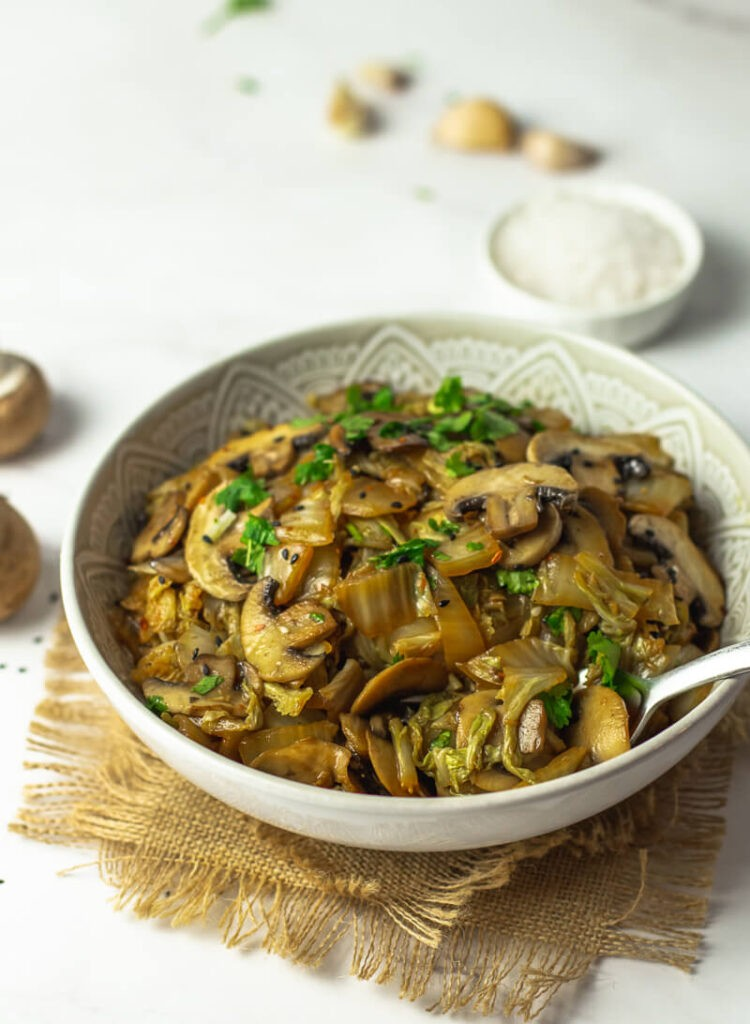 20 Vegan Stir Fry Recipes - Napa Cabbage and Mushroom Stir Fry | Hurry The Food Up